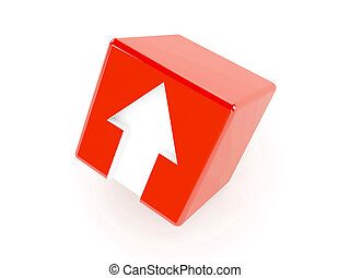 3D red cube with an arrow pointing