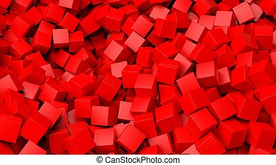 3D red cubes pile abstract background