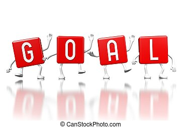 3D red cubes word - goal