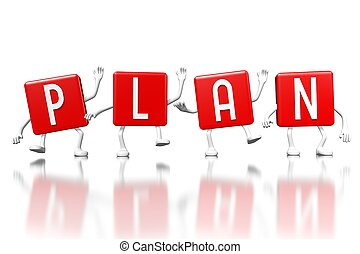 3D red cubes word - plan