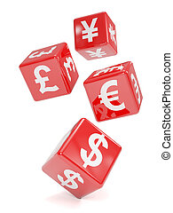 3d Red currency symbol dice falling