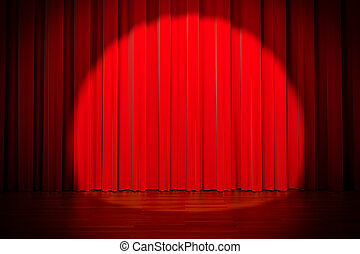 3d red curtain lit by spot light