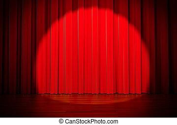 3d red curtain lit by spot light