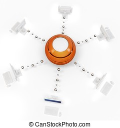 3d, red de computadoras, con, central, cubo, servidor