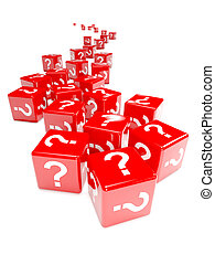 3d Red dice marked with question marks