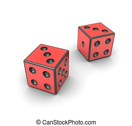 3d red dice on white background isolated