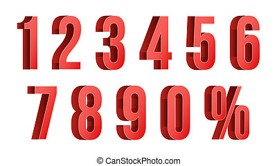 3D Red Discount Numbers . Percent. Numbers From 0 to 9. Percentage Icon Set In 3D Style. Isolated On white Illustration
