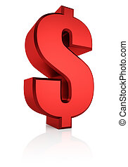 3D Red Dollar Sign - Red dollar currency symbol isolated on...