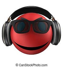3d red emoticon smile