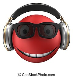 3d red emoticon smile