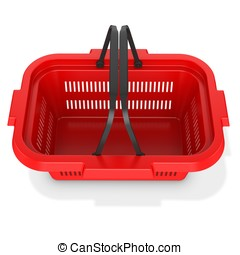 3d red empty shopping basket