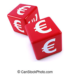 3d Red Euro dice