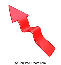 3d Red flowing arrow