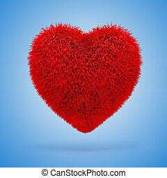 3d red fluffy heart,
