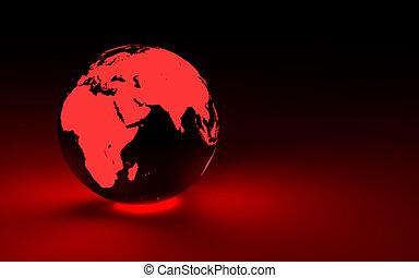 3d red glowing earth globe