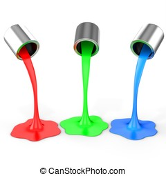 3d red, green, blue paint pouring from buckets on white...