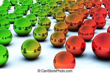 3D red green christmas ball