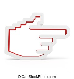 3d red hand icon