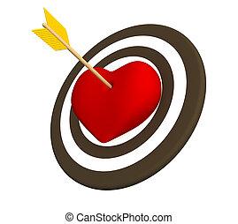 3d red heart pierced with an arrow