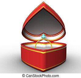 3d red heart-shaped box with a gold ring on a white background isolated