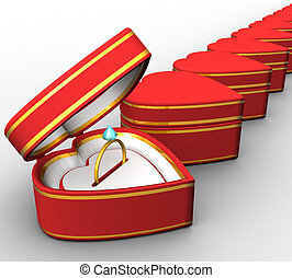3d red heart-shaped boxes with gold rings on a white background isolated