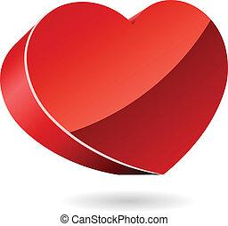 3D red heart vector illustration.