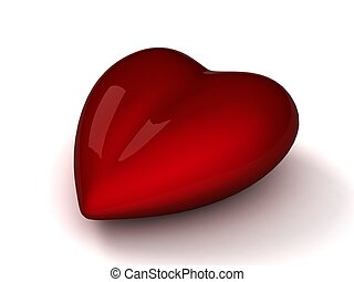 3d red heart with an isolated background