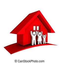 3D Red house with Family