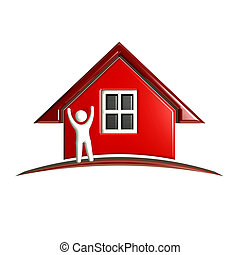 3D Red House with person