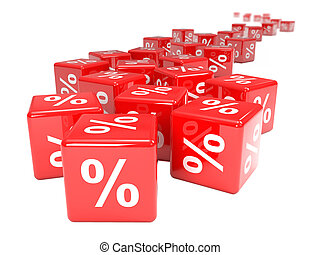 3d Red interest rate dice - 3d render of red dice marked...