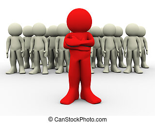 3d red leader - 3d render of red man standing out of crowd....