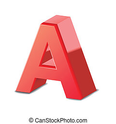 3d red letter A isolated on white background