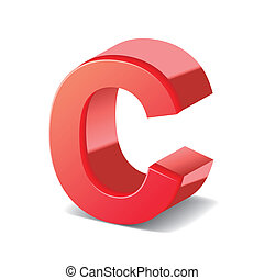 3d red letter C isolated on white background