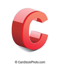 3d red letter C