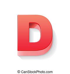 3d red letter D