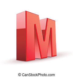 3d red letter M