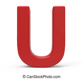 3d red letter U - 3d rendering red letter U isolated white...