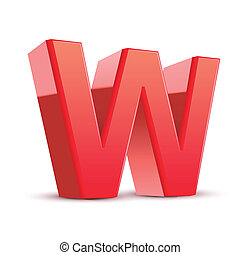3d red letter W isolated white background