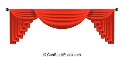 3d red luxury silk curtain, realistic interior decoration velvet
