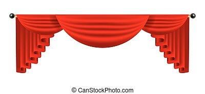 3d red luxury silk curtain, realistic interior decoration velvet