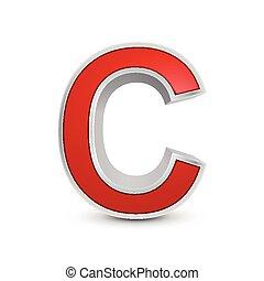 3d red metallic letter C