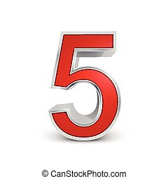3d red metallic number 5 isolated on white background