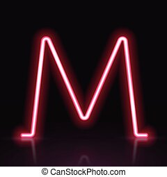 3d red neon light letter M