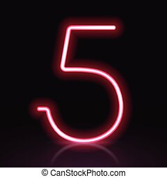 3d red neon light number 5