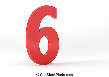 3D Red Number 6