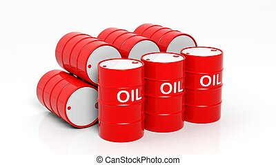 3D red oil drums ,isolated on white background