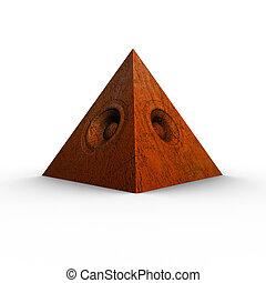 3d red orange pyramid grunge old speaker sound system