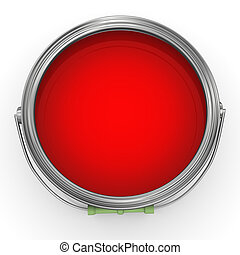 3d red paint bucke