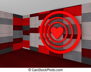 3D Red pattern with a heart target on valentine's day, illustration
