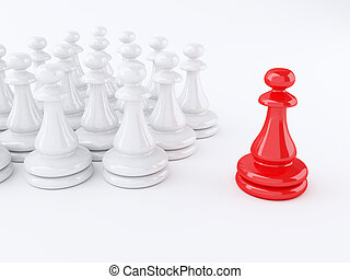 3d Red pawn of chess. Leadership concept.